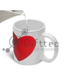 Кружка белая с КРАСНЫМ сердцем-хамелеон для сублимации 10064
