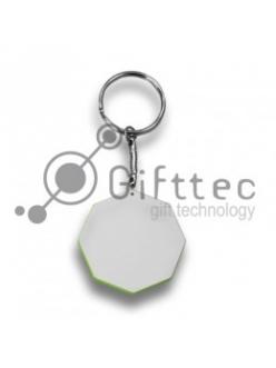Брелок для ключей пластиковый Восьмиугольник СВЕТЛО-ЗЕЛЁНЫЙ 44мм 10219