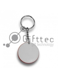 Брелок для ключей пластиковый Круг КРАСНЫЙ d=43 мм 10246