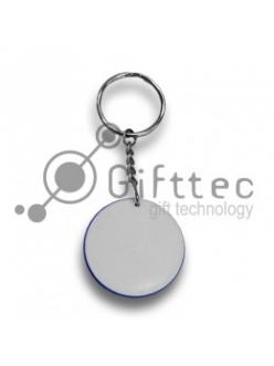 Брелок для ключей пластиковый Круг ГОЛУБОЙ d=43мм для сублимации 10262