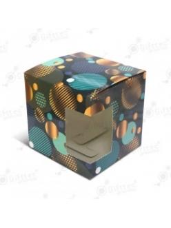 """Коробка подарочная для кружки с окном """"Синие шары"""" 10379"""