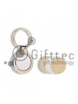Брелок для ключей металлический Круг для сублимации 10451