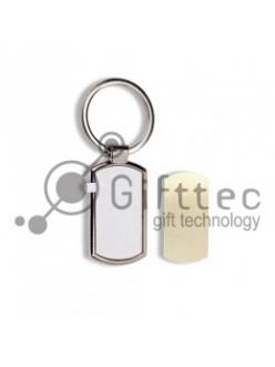 Брелок для ключей металлический выпуклый прямоугольник (009C) 10459
