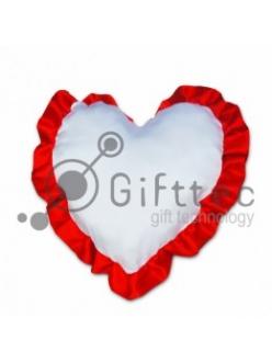Подушка с наволочкой в виде сердца 38х38см КРАСНЫЙ кант 10747