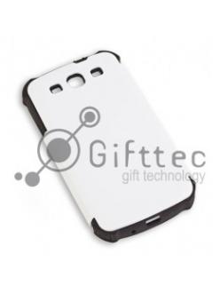 Samsung Galaxy S3 i9300 - Белый пр/ударный чехол матовый пластик с ЧЕРНЫМ силикон.бампером (для 3D-машины вакуумной) 10978