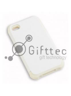 IPhone 4/4S - Белый пр/ударный чехол глянцевый пластик с БЕЛЫМ силикон.бампером (для 3D-машины вакуумной) 11007