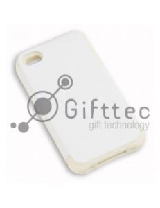 IPhone 4/4S - Белый пр/ударный чехол матовый пластик с БЕЛЫМ силикон.бампером (для 3D-машины вакуумной) 11008