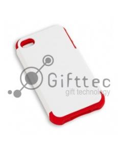IPhone 4/4S - Белый пр/ударный чехол матовый пластик с КРАСНЫМ силикон.бампером (для 3D-машины вакуумной) 11009