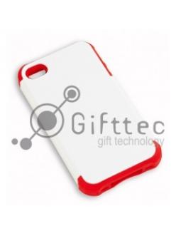 IPhone 4/4S - Белый пр/ударный чехол глянцевый пластик с КРАСНЫМ силикон.бампером (для 3D-машины вакуумной) 11010