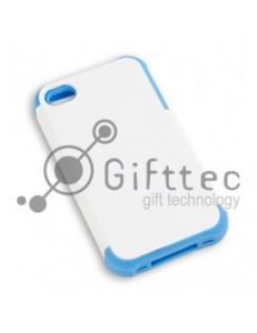 IPhone 4/4S - Белый пр/ударный чехол матовый пластик с СИНИМ силикон.бампером (для 3D-машины вакуумной) 11011