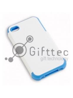 IPhone 4/4S - Белый пр/ударный чехол глянцевый пластик с СИНИМ силикон.бампером (для 3D-машины вакуумной) 11012