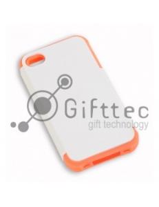IPhone 4/4S - Белый пр/ударный чехол матовый пластик с РОЗОВЫМ силикон.бампером (для 3D-машины вакуумной) 11013