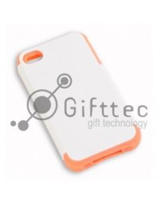 IPhone 4/4S - Белый пр/ударный чехол глянцевый пластик с РОЗОВЫМ силикон.бампером (для 3D-машины вакуумной) 11014