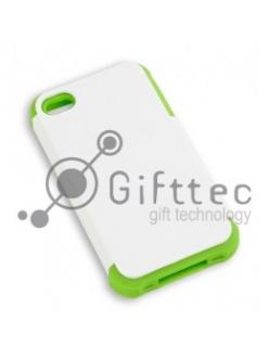 IPhone 4/4S - Белый пр/ударный чехол матовый пластик с ЗЕЛЁНЫМ силикон.бампером (для 3D-машины вакуумной) 11015