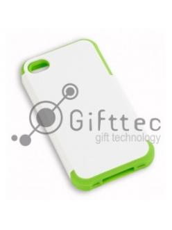 IPhone 4/4S - Белый пр/ударный чехол глянцевый пластик с ЗЕЛЁНЫМ силикон.бампером (для 3D-машины вакуумной) 11016