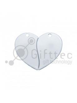Брелок для ключей металический Сердце двойной БЕЛЫЙ упаковка 10шт 11261