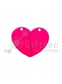 Брелок для ключей металический Сердце двойной РОЗОВЫЙ упаковка 10шт 11262