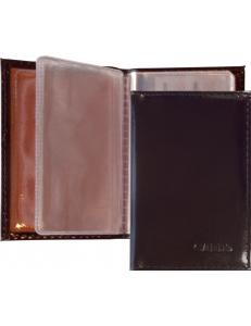 """Визитница (18 визиток) 70х100мм карманная, кожа, горький шоколад """"Спейс"""" 176915"""