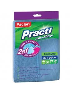 """Салфетка для уборки Paclan """"Practi"""" микрофибра, 2 в 1, 30*30см, европодвес <410128> Paclan 203235"""