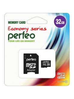 Карта памяти 32Gb micro SDHC Class10+SDадаптер PERFEO Economy series