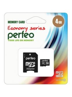 Карта памяти 4Gb micro SDHC Class10+SDадаптер PERFEO Economy series