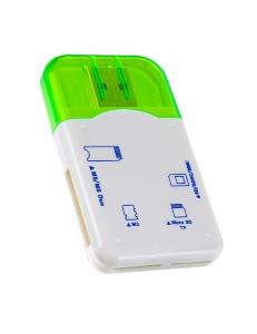 Картридер внешний <PF-VI-R010> SD/MMC/MicroSD/MS/M2 синий PERFEO PF-VI-R010