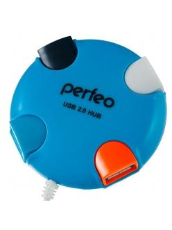 USB HUB 4 порта синий USB 2.0 <PF-VI-H020> PERFEO PF-VI-H020