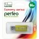 Флэш-карта 64Gb USB 2.0 E01 Золото с колпачком Economy series PERFEO