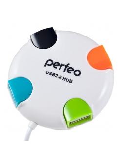 USB HUB 4 порта белый USB 2.0 <PF-VI-H020> PERFEO PF-VI-H020