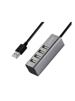 USB HUB 4 порта Line Machine серый USB 2.0 <HB-1> HOCO HB-1