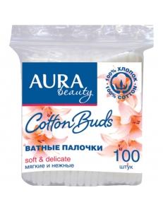 """Ватные палочки Aura """"Beauty"""", 100шт., полиэтиленовый пакет """"Коттон Клаб"""" 229690"""