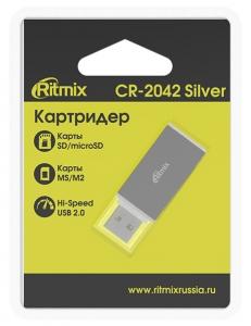 Картридер внешний <CR-2042> USB-microSD/SD/MS/M2 Silver RITMIX CR-2042