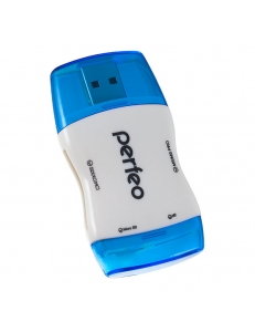 Картридер внешний <PF-VI-R016> SD/MMC/MicroSD/MS/M2 синий PERFEO PF-VI-R016