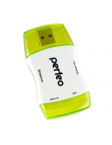 Картридер внешний <PF-VI-R016> SD/MMC/MicroSD/MS/M2 зеленый PERFEO PF-VI-R016