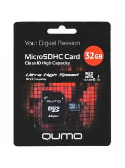 Карта памяти 32Gb micro SDHC Class10+SDадаптер QUMO