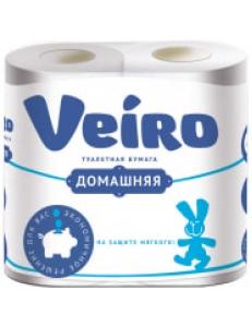 """Бумага туалетная """"Домашняя"""" 2-слойная, 4шт., тиснение, белая <1С24> """"Veiro"""" 239243"""