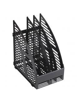 """Лоток для бумаг вертикальный (3секции) черный, сборный """"OfficeSpace"""" 244238"""