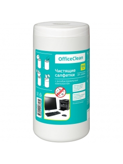 """Чистящие салфетки (Туба 100шт.) универсальные, антибактериальные """"OfficeClean"""" 249230"""