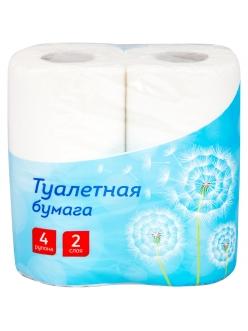"""Бумага туалетная 2-слойная, 4шт., тиснение, белая """"OfficeClean"""" 249814"""