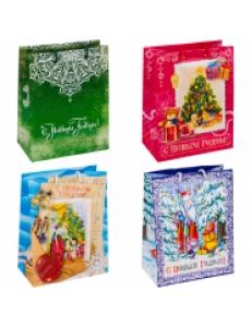 """Пакет бумажный новогодний 17,8*22,9*9,8см, ассорти <17770> """"Яркий праздник"""" 252936"""