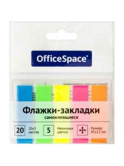 """Набор закладок самокл. (45*12мм) 5*20л. неон.пласт. <SN20_17792> """"OfficeSpace"""" 255248"""