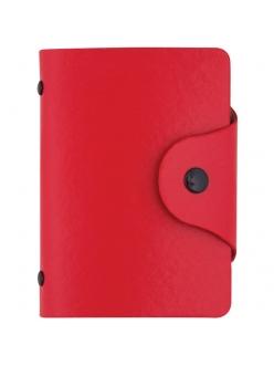 """Визитница ( 40 визиток) карманная кожзам, кнопка, красный 80*110мм """"OfficeSpace"""" 260778"""