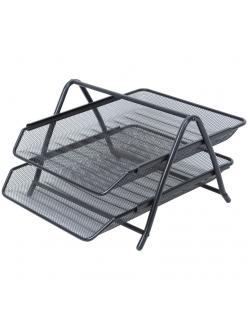 """Лоток для бумаг горизонтальный (2секции) металл. сетка, черный """"Steel&Style"""" <BMs_41022> """"Berlingo"""" 268960"""