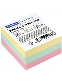 """Бумага самоклеящаяся 50х50мм/300л. 3цвета """"OfficeSpace"""" 269564"""