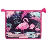 """Папка для тетрадей А5 1отд.""""Pink Flamingo"""" пластик, молния сверху ПИФАГОР 270133"""