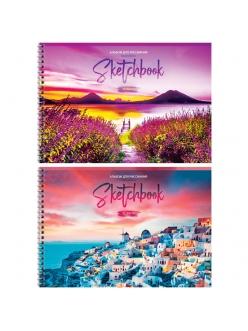 """Альбом для рисования А4, 32л. на гребне """"Путешествия.Bright sunset"""" <А32сп_26278> """"ArtSpace"""" 280678"""