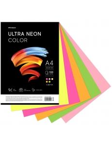 """Бумага А4 100л. OfficeSpace """"Ultra Neon Color"""" 80г/м2 MIX (5х20) 306553"""