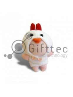 3D Игрушка Цыпленок БЕЛЫЙ (размер 8-10 см) запечатка 5х5см / 2-PD7 4304
