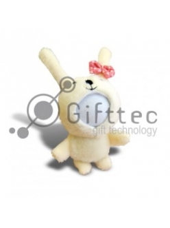 3D Игрушка Заяц с бантом (размер 8-10 см) запечатка 5х5см / 2-PD55 4306