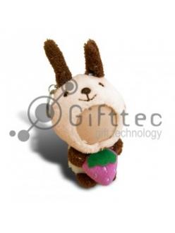3D Игрушка Кролик с клубничкой в руках БЕЖЕВЫЙ (размер 8-10 см) запечатка 5х5см / 2-PD18 4310